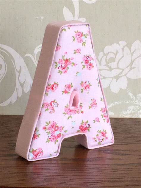 vintage shabby chic pink floral fabric letters girls custom