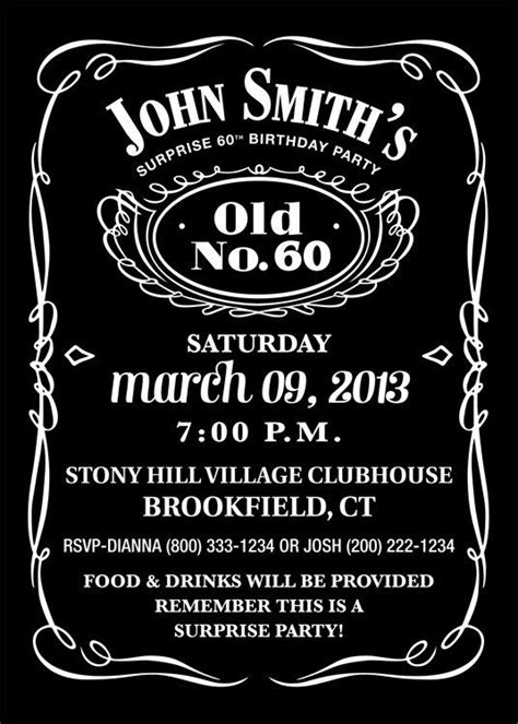 jack daniels inspired invitation personalized printable  southern style birthday