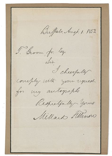 Response Letter Must Be Signed By Lot Detail President Millard Fillmore Signed Handwritten 1853 Autograph Response Letter Tpa