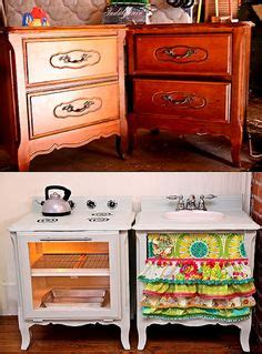 play kitchen reinvented from old furniture for my recycle reuse reduce and close the loop on pinterest