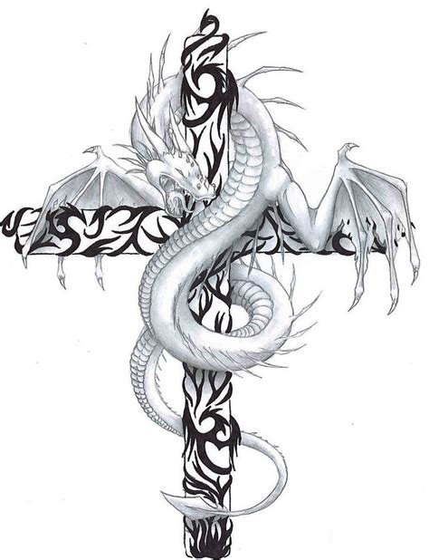 white dragon curled around tribal patterned cross tattoo
