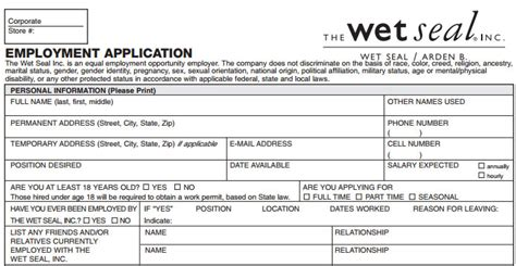 wet seal job application printable job employment forms