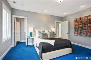 Bedroom Design Blue Carpet Bedroom With Gray Whiles And Bright Blue Carpet Home