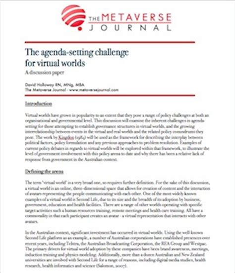 discussion research paper the agenda setting challenges for worlds a