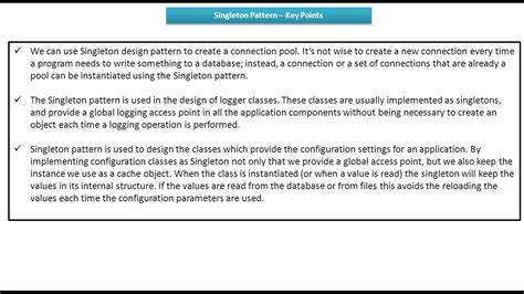 singleton design pattern youtube java ee singleton design pattern key points