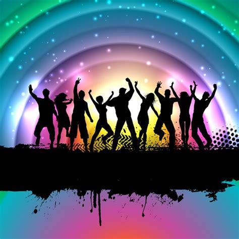 imagenes de gente cool fondo a todo color con siluetas de gente bailando