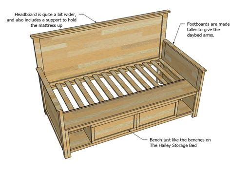 day bed plans ana white hailey storage daybed with back and arms diy