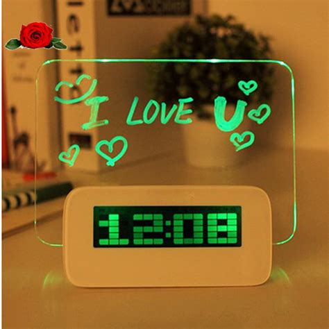 cool digital clock led background projection desktop light digital alarm
