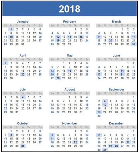 Thailand Calendrier 2018 Happy New Year 2018 Calendar With Holidays Printable