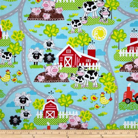 Kanvas Sale kanvas green farms on the farm aqua discount designer fabric fabric