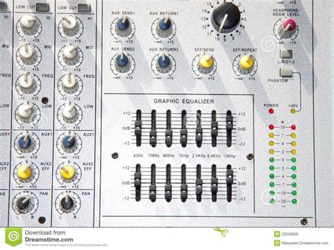 Mixer Equalizer power mixer with graphic equalizer royalty free stock