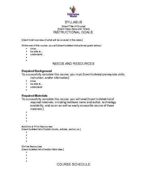 syllabus template education world