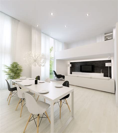 white interior design ideas white dining table with white living area interior