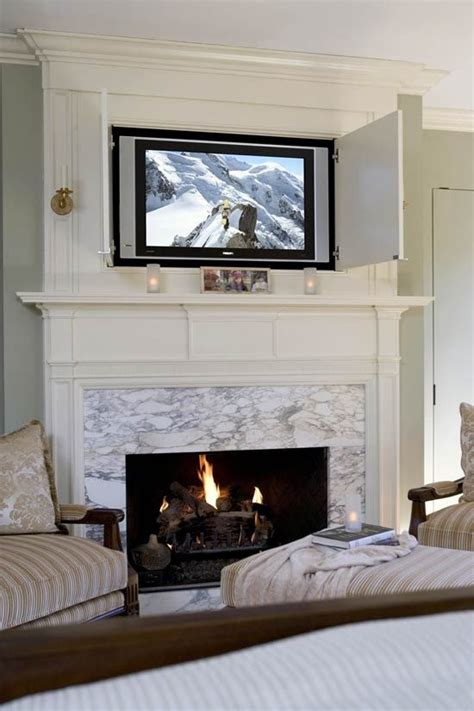 Pop Up Tv That Hides In The Fireplace by Hiding Your Tv 29 Trendy Panels And Doors Ideas Digsdigs