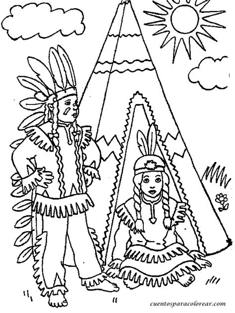 imagenes de niños indigenas para colorear dibujos para colorear indios