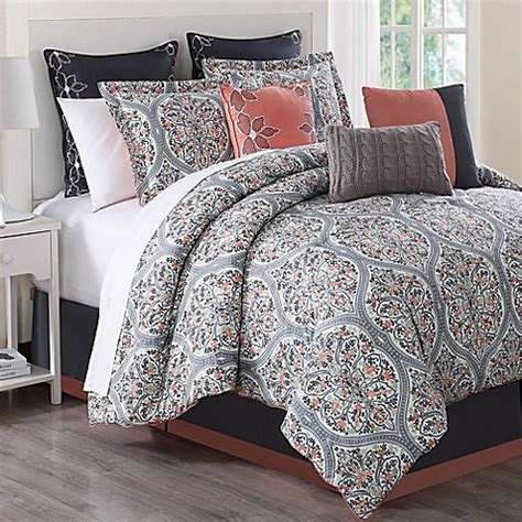 Coral And Grey Bedding Sets Grace 9 Comforter Set In Grey Print Bed Bath Beyond