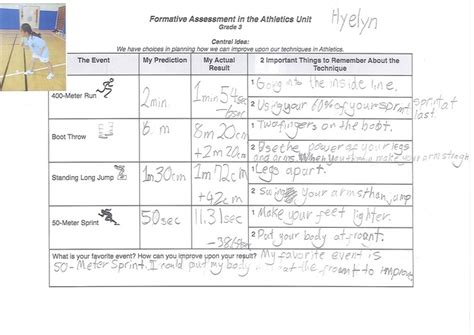 exle of formative assessment a formative assessment task in grade 3 athletics unit
