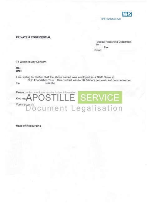 certification letter of residence apostille for employment letters