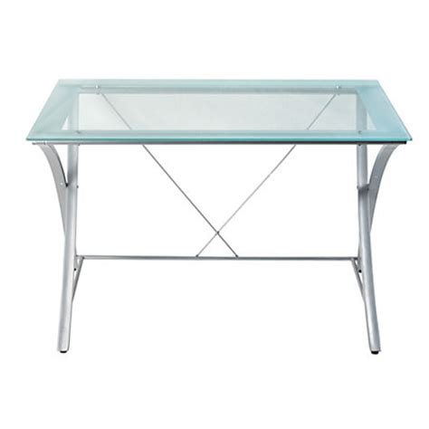 Office Max Glass Desk Realspace Zentra Desk Silverclear By Office Depot Officemax