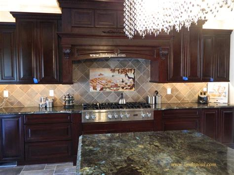 Kitchens With Backsplash The Vineyard Tile Murals Tuscan Wine Tiles Kitchen Backsplashes