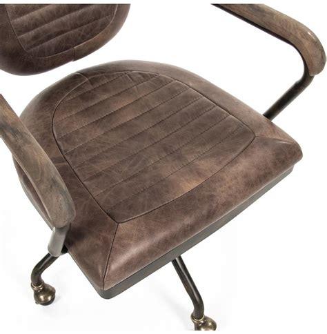 rustic industrial desk chair noa industrial rustic top grain leather adjustable rolling