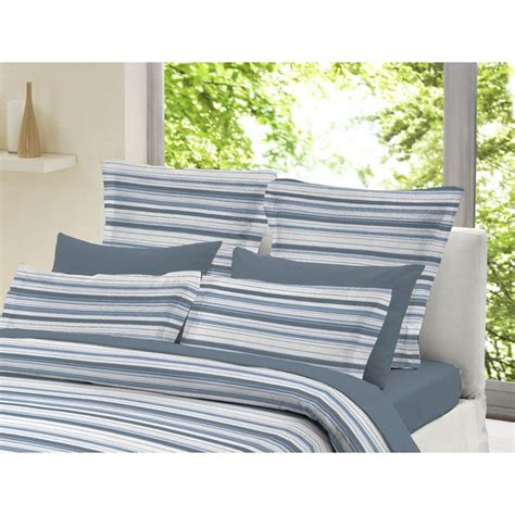 And White Striped Duvet Cover Dormisette Blue And White Striped 100 Brushed Cotton