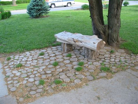 Tree Stump Patio by Log Bench