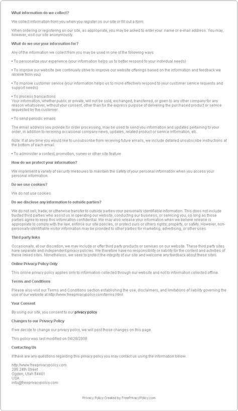 company privacy policy template free privacy policy sle