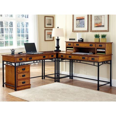Corner Desk For Two Home Styles Modern Craftsman 3 Distressed Oak And