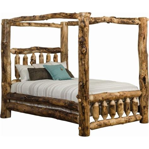 log beds king size aspen canopy bed