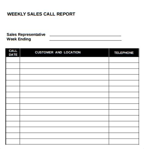 sales call report template free download