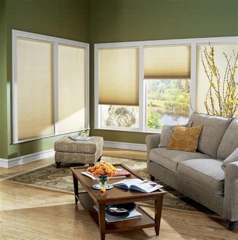 living room l shades cordless graber 3 8 quot single cell light filtering shade
