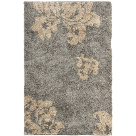 shop safavieh votive shag gray beige rectangular indoor shop safavieh votive shag gray beige indoor tropical throw