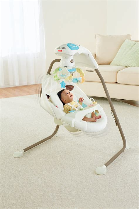 baby on swing fisher price cradle n swing my little lamb baby infant