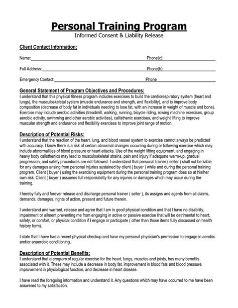 personal trainer client profile template informed consent form personal search