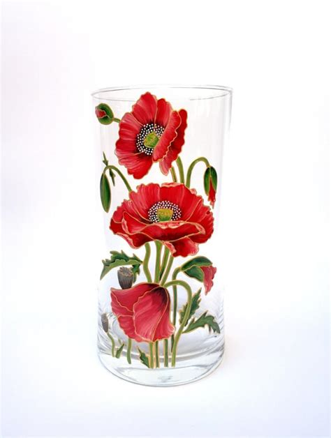 Flower Vase Decoration Home Birthday Gift For Her Hand Painted Glass Vase Home Decor