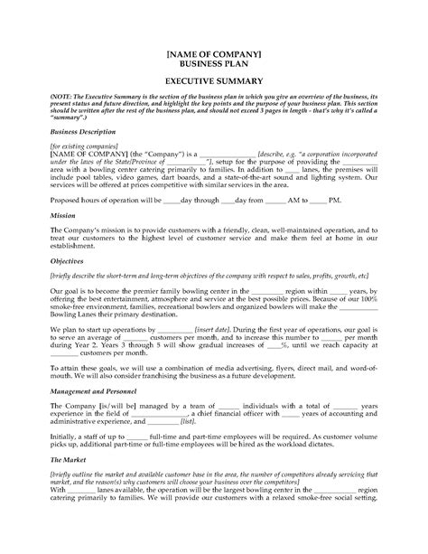 Bowling Alley Business Plan Legal Forms And Business Templates Megadox Com Bowling Alley Business Plan Template