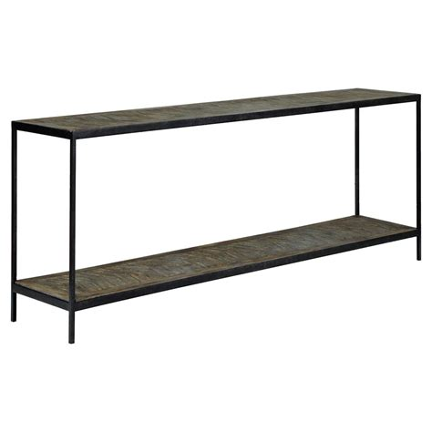 metal console table greenlee lodge herringbone wood black metal console table