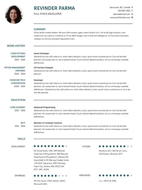 Cv Templates 20 Options To Improve Your Cv Visualcv Cv Template