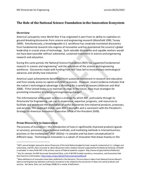 nsf format proposal nsf in the innovation ecosystem