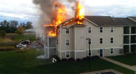 pre arrival video  east lansing mi apartment fire