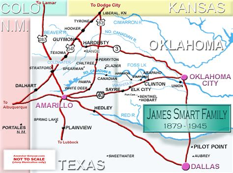 oklahoma texas map smart family history maps