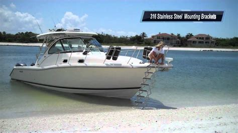 bow loading boat gr8 white bow to beach accordion gangplank boat ladder