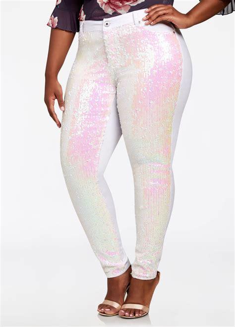 size sequin pants  curvy women
