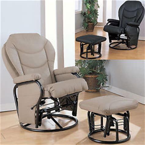 coaster chenille glider and ottoman in chocolate black bone leatherette cushion swivel reclining glider
