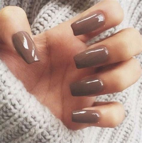 light brown nail light brown square tip acrylic nails nails 2