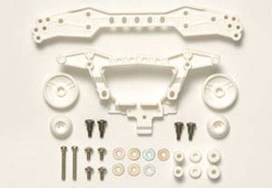 Replika Tamiya 94942 Rear Roller Stay 3 Attachment Point White carbon intension rear roller stays 3 attachment points white mini 4wd hobbysearch