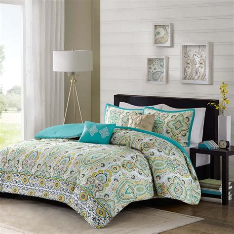 yellow queen comforter sets 5pc teal blue green yellow queen comforter set ogee floral