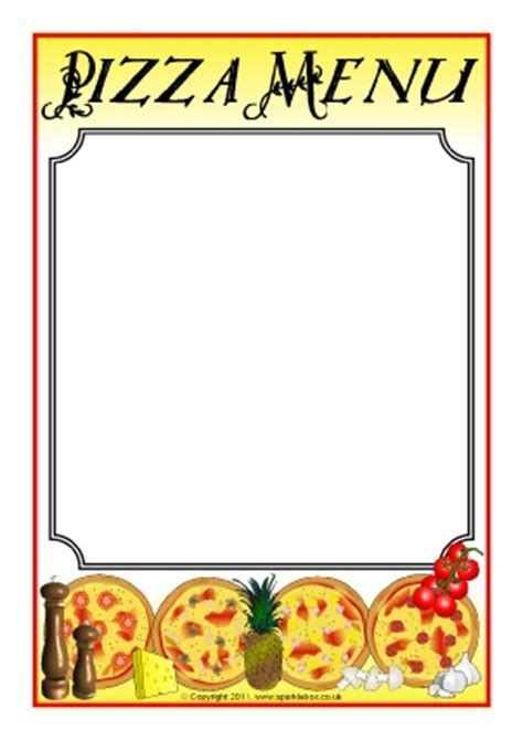 menu writing template menu writing frames and printable page borders ks1 ks2