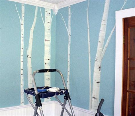 Wall Murals Diy birch tree mural amy and i painted a mural of birch